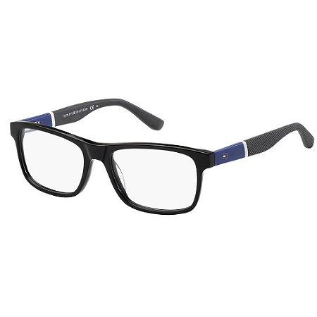 Óculos de Grau Tommy Hilfiger TH 1282/52 Preto/Branco/Cinza