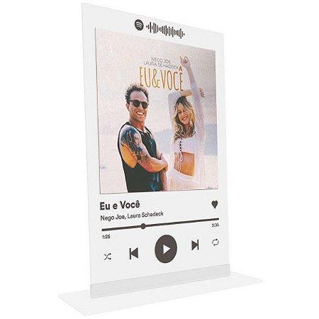 """Placa Acrílica Spotify - """"Eu e Você """""""
