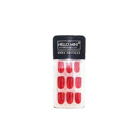 Unhas Postiças Auto Colante Vermelho Cintilante Hello Mini OY174-61