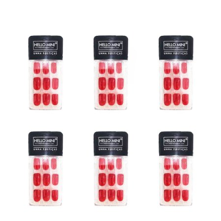 Unhas Postiças Auto Colante Vermelho Cintilante Hello Mini OY174-61 – Kit c/ 06 unid