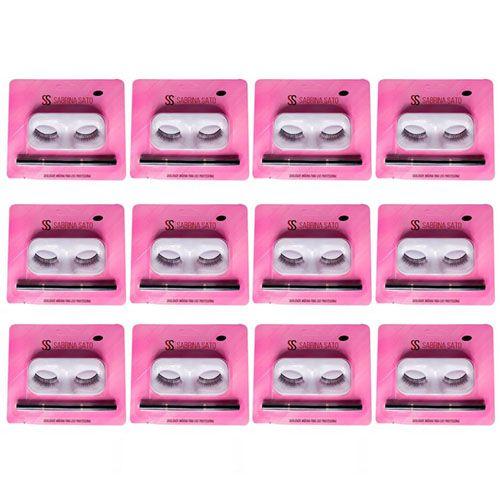 Kit de Cílios Postiços + Pincel para Sobrancelha Duplo Sabrina Sato SS-1346 - Box c/ 12 unid