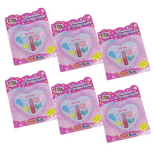 Estojo de Maquiagem Coração Goal Kids GK1585 - Kit c/ 06 unid