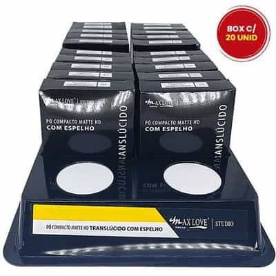 Pó Compacto Matte HD Translúcido 35 com Espelho Max Love - Box c/ 20 unid