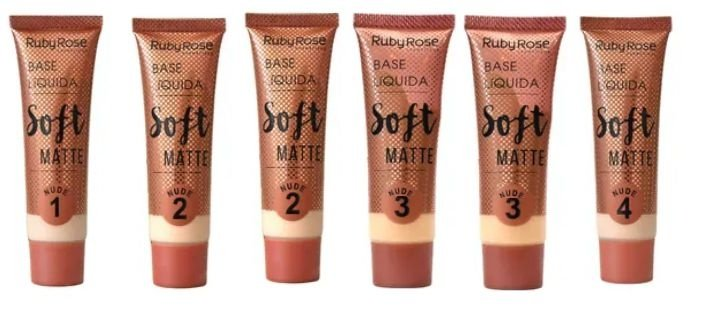 Base Liquida Soft Matte Ruby Rose HB-8050 Group 01 Nude - Kit c/ 06 unid