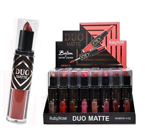 Batom Duo Matte Liquido e Bastão Ruby Rose HB-8607 - Box c/ 48 unid