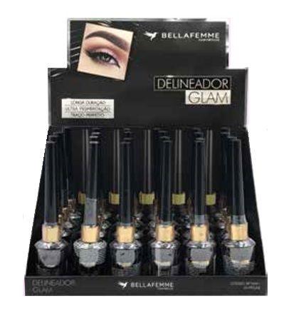 Delineador Líquido Glam Black Bella Femme BF10041 - Box c/ 24 unid