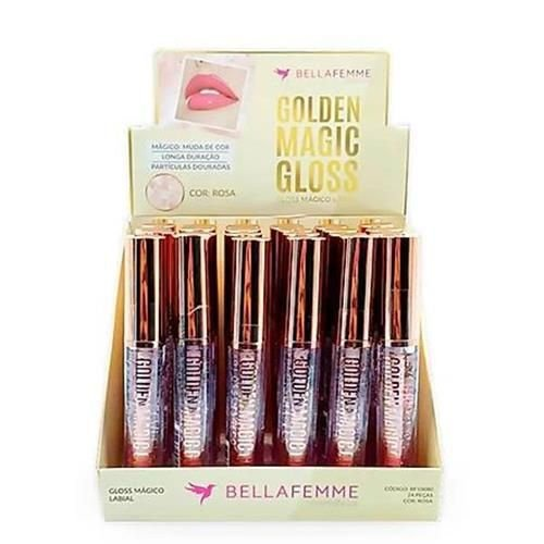 Gloss Mágico Labial Golden Magic Gloss Bella Femme BF10080 – Box c/ 24 unid