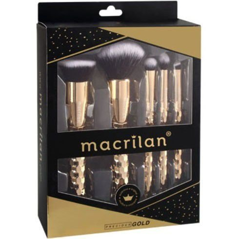 Kit com 5 pincéis profissionais para maquiagem Precious Gold Macrilan ED006