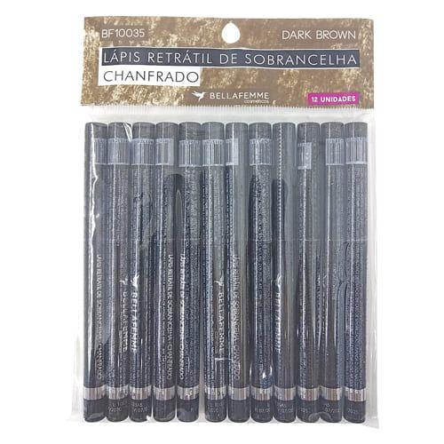 Lápis Retrátil Universal para Sobrancelha Chanfrado Bella Femme BF10035 - Pcte c/ 12 unid