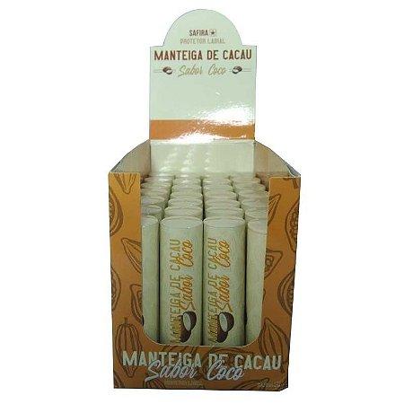 Manteiga de Cacau Protetor Labial Sabor Coco Safira - Box c/ 35 unid