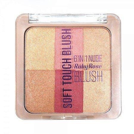 Paleta de Blush Soft Touch 6 em 1 Ruby Rose HB-6109-4