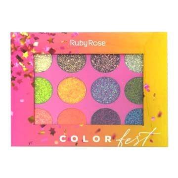 Paleta de Glitter Color Fest Ruby Rose HB-8408