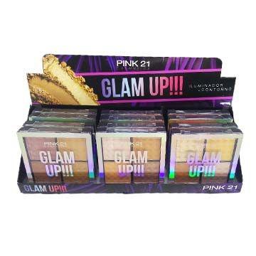 Paleta de Iluminador e Contorno Pink 21 Cosmetics CS2390 - Box c/ 12 unid