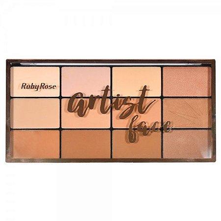 Paleta de Pó Facial e Pó Bronzeador Artist Face Ruby Rose HB-7218