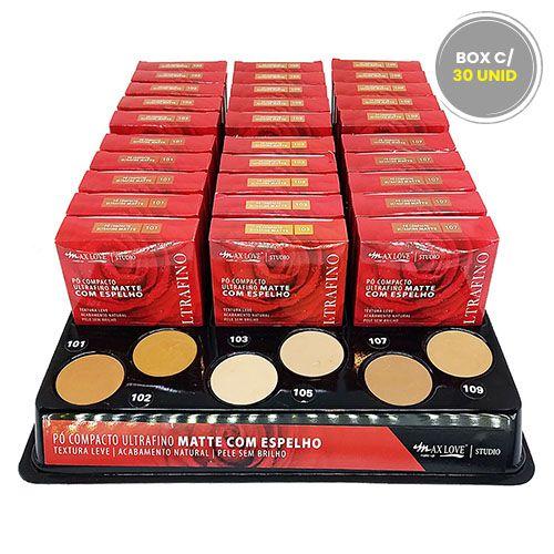 Pó Compacto Matte Ultrafino com Espelho Tons Médios e Escuros 101 ao 109 Max Love - Box c/ 30 unid