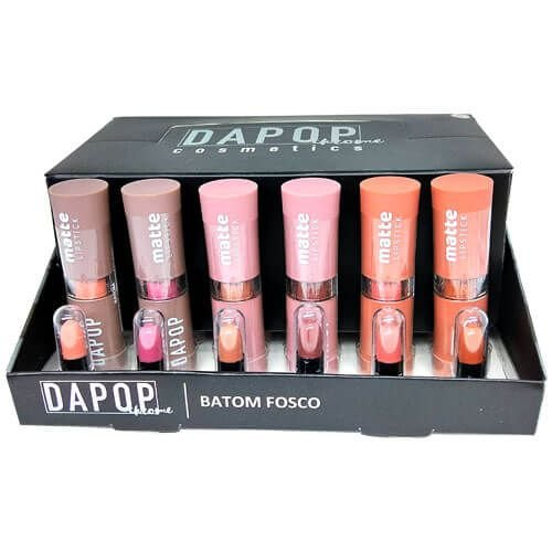 Batom Bastão Matte Lipstick Dapop Chrome HB96951 – Box c/ 24 unid