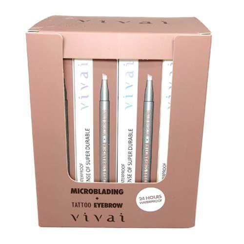 Caneta Delineadora para Sobrancelha Microblading Fio a Fio Castanho ClaroVivai 2058.1.1 – Box c/ 24 unid