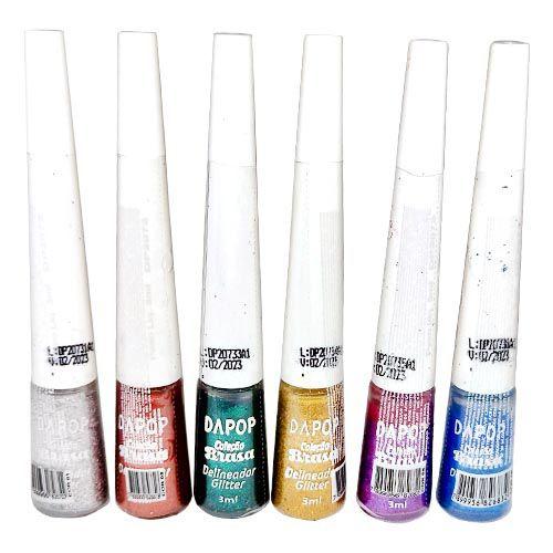 Delineador Líquido Colorido com Glitter Coleção Brasa Dapop DP2073 – Kit c/ 06 unid