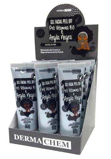 Gel Facial Peel Off Argila Negra e Pró Vitamina B5 Dermachem – Box c/ 09 unid