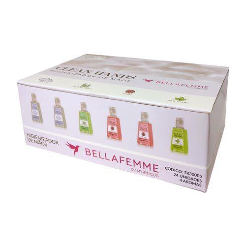 Higienizador de Mãos Clean Hands Bella Femme TR30005 - Box c/ 24 unid