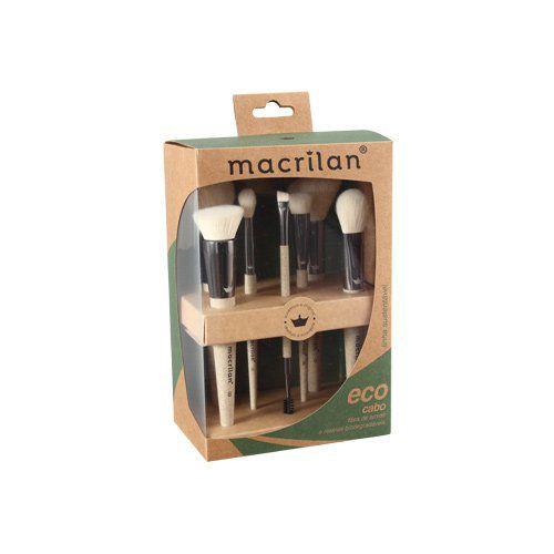 Kit com 7 pincéis para Maquiagem Eco Macrilan SK100