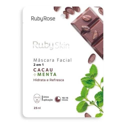 Máscara Facial de Tecido Cacau e Menta Ruby Rose HB-710