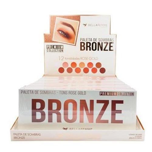 Paleta de Sombras Bronze Tons Rose Gold Premium Collection Bella Femme BF10059 – Box c/ 12 unid