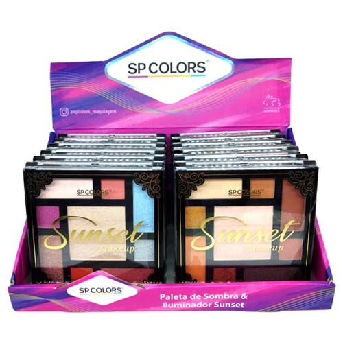 Paleta de Sombras e Iluminador Sunset Makeup SP Colors SP149 – Box c/ 12 unid