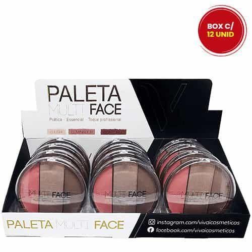 Paleta Multi Face Blush Iluminador Contorno Vivai 1072.1.1 - Box c/ 12 unid