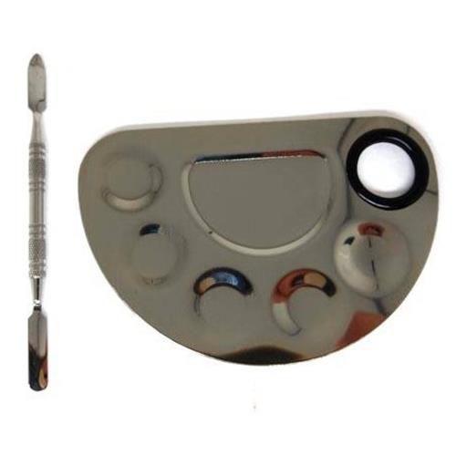 Placa e Espátula em Aço Inox para Maquiagem JD-2222