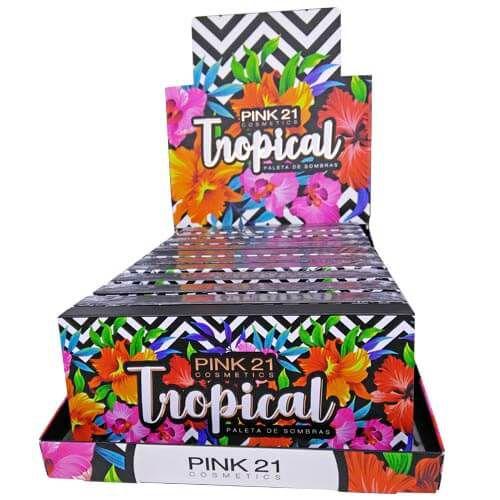 Paleta de Sombras Tropical Pink 21 Cosmetics CS2392 – Box c/ 12 unid