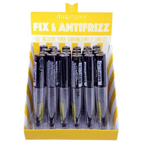 Gel Incolor para Sobrancelha e Cabelos Fix & Antifrizz Mia Make 240 - Box c/ 24 unid