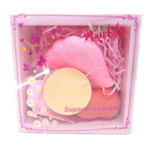 Kit Esponja de Limpeza Facial + Esponjas para Maquiagem e Suporte para Esponja Mandala FP-012 – Kit c/ 06 unid