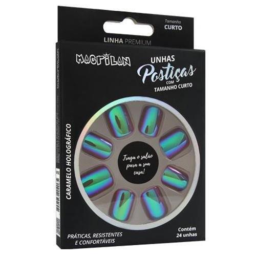 Unhas Postiças Macrilan Linha Premium Curto Caramelo Holográfico UP201C