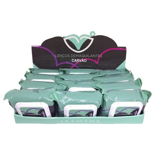 Lenço Demaquilante Carvão Ativado Jasmyne JS0902 - Box c/ 12 unid