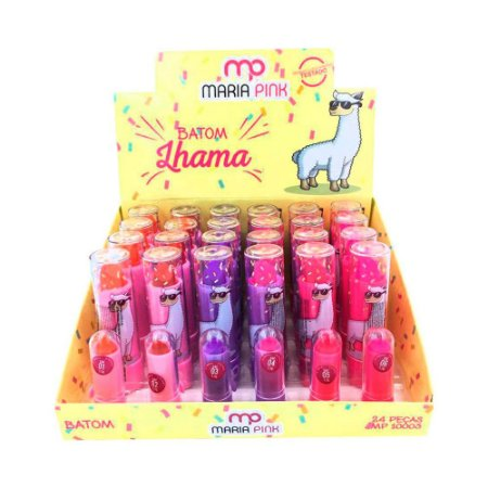 Batom Bastão Cremoso Infantil Lhama Maria Pink MP10003 - Box c/ 24 unid