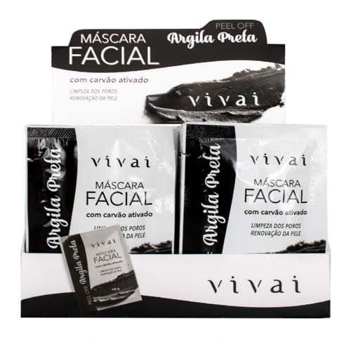 Máscara Facial Argila Preta com Carvão Ativado Vivai 5049 – Box c/ 48 unid