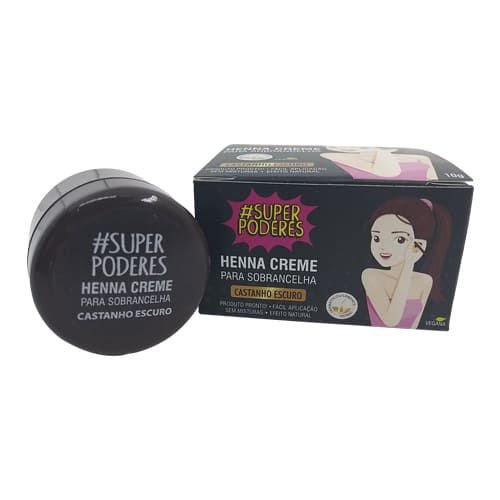 Henna Creme para Sobrancelha Castanho Escuro Super Poderes CRCESP01