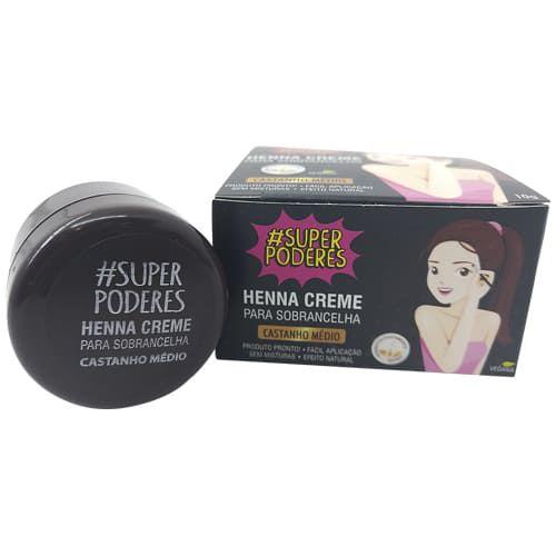 Henna Creme para Sobrancelha Castanho Médio Super Poderes CRCMSP01