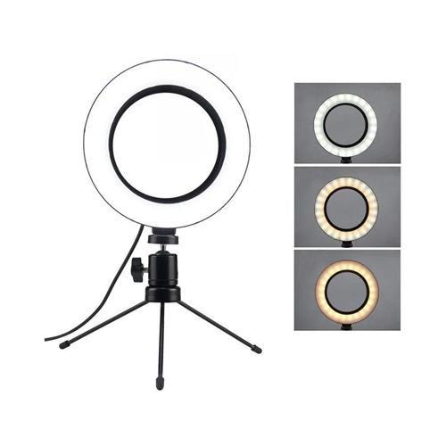 Luz Ring Light 6 Polegadas com Suporte Mini Tripé Caerus CRS-RL01