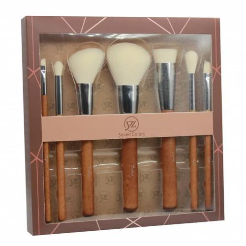 Kit com 7 pincéis de Madeira para Maquiagem Seven Colors SV-09