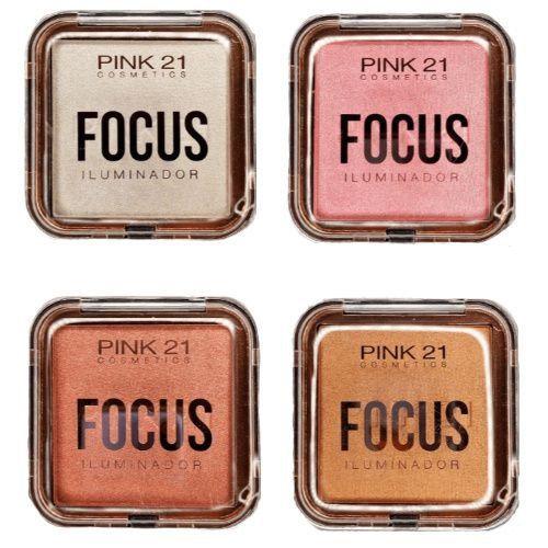 Paleta de Iluminador Focus Pink 21 Cosmetics CS2434 - Kit c/ 04 unid
