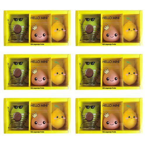 Kit Esponja Frutas para Maquiagem Hello Mini KIT301 – Pacote c/ 6 unid