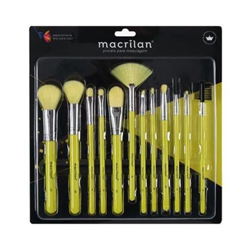 Kit com 12 Pincéis para Maquiagem Neon Macrilan EN001