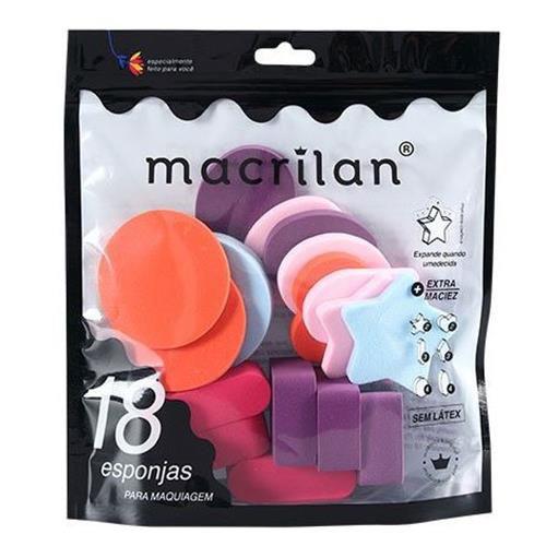 Kit com 18 Esponjas para Maquiagem Macrilan EP14