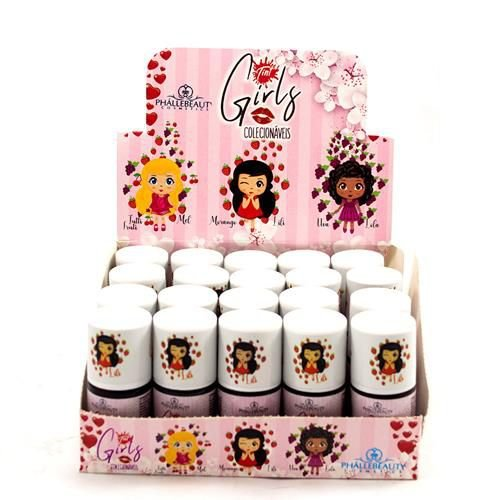 Lip Tint Girls Colecionáveis Morango Phállebeauty PH011 - Box c/ 20 unid