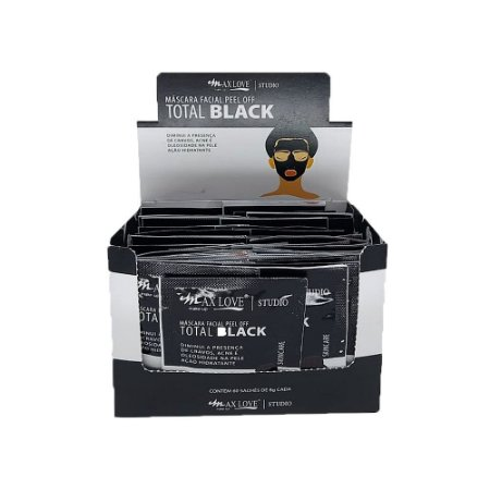 Máscara Facial Peel Off Total Black Max Love - Box c/ 60 unid