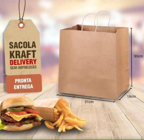 Sacola Kraft  Delivery I 31X19X30 100 unidades R$ 65,00