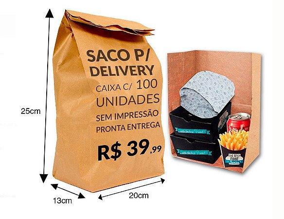 Saco Kraft Delivery  20x13x25 100 unidades