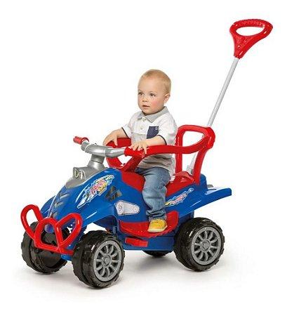 Carrinho Passeio Menino 2 Em 1 Empurrador Pedal Buzina Azul